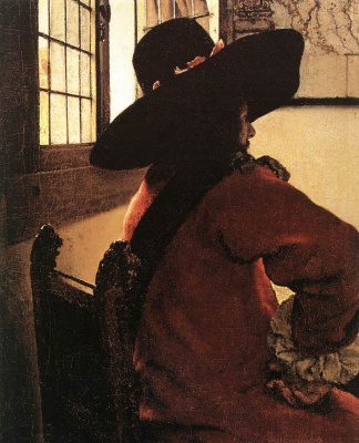 Jan Vermeer. Officer and a laughing girl. Fragment