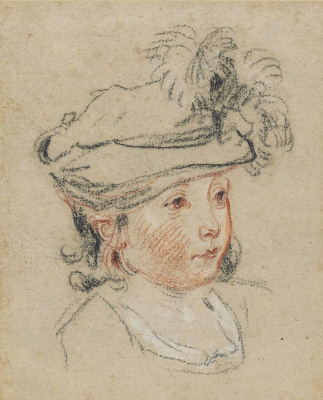 Antoine Watteau. Head of a child in a feathered hat