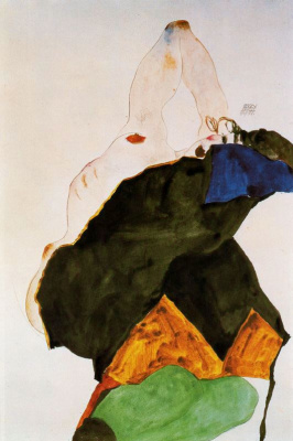Egon Schiele. The girl with a raised elbow