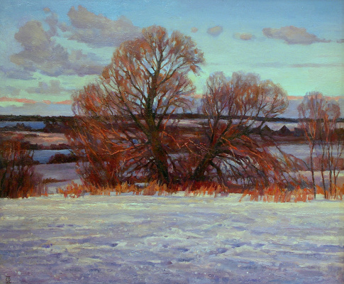 Oleg Borisovich Zakharov. Sunset in the fields near Yuriev-Polsky.