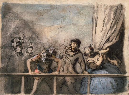 Honore Daumier. The announcement of the performance of vagrant actors