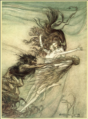 "Arthur Rackham. Illustration for the book ""The Ring of the Nibelungen"""