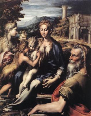 Франческо Пармиджанино. Мадонна на троне, св. Захария, св. Иоанн Креститель и св. Мария Магдалина