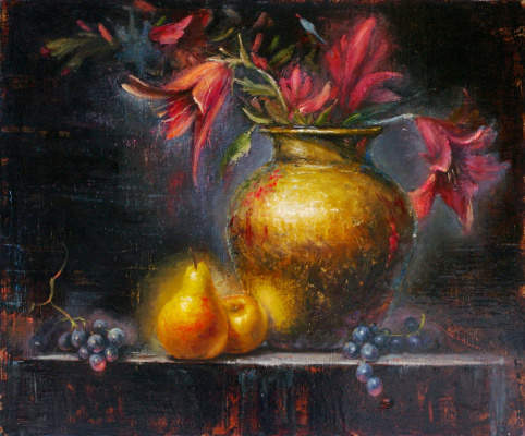 Наталия Багацкая. Still life with lilies and pears
