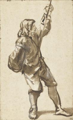 Карел Фабрициус. Молодой человек, держащийся за веревку. Этюд