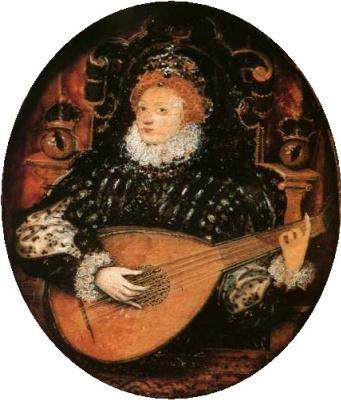 Nicholas Hilliard. Королева Елизавета I, играющая на лютне