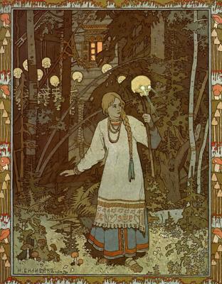 "Ivan Yakovlevich Bilibin. Vasilisa the Beautiful leaves home Baba Yaga. Illustration for the fairy tale ""Vasilisa the Beautiful"""