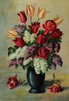 Stepan Kutlan. Still life with lilacs and tulips