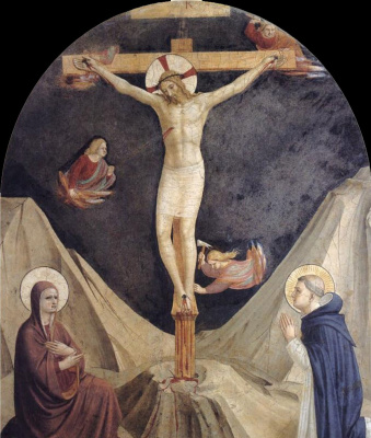 Fra Beato Angelico. Crucifixion with the Virgin, of sv. Dominic and angels. Fresco of the Monastery of San Marco, Florence