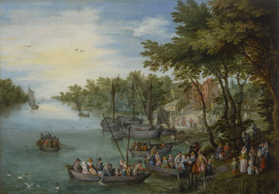 Jan Bruegel The Elder. A Wooded River Landscape With A Landing Stage, Boats, Various Figures And A Village Beyond