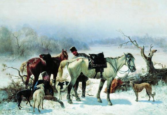 Nikolay Egorovich Sverchkov. The rest of the hunter. 1865