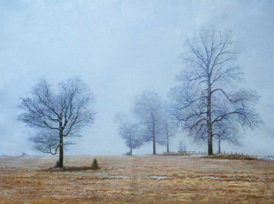 "Savely Kamsky. Winter landscape ""Fog in the winter morning"""