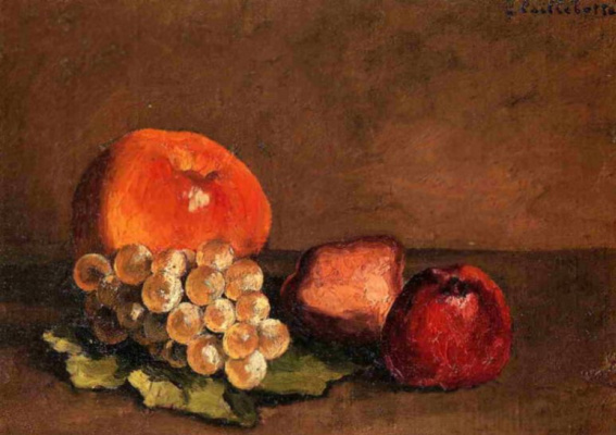 Gustave Caillebotte. Peaches, apples and grapes on a vine leaf