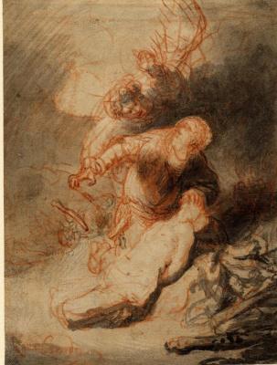 Рембрандт Харменс ван Рейн. Ангел, препятствующий Аврааму принести в жертву его сына Исаака