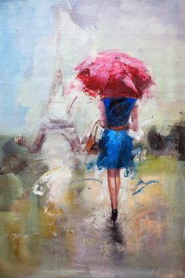 Savely Kamsky. Girl under a red umbrella on the background of the Eiffel Tower