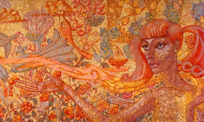 Алексей Петрович Акиндинов. Scarf bird. Portrait of circus artist Natalia Bondar