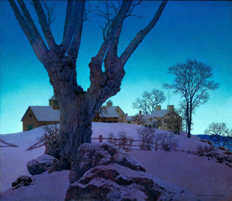 Maxfield Parrish. Winter landscape with a farm on top of a hill