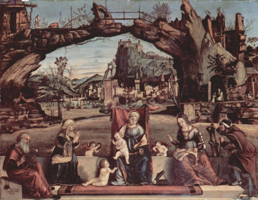 Vittore Carpaccio. Madonna on the throne and John the Baptist, left: St. Joseph and St. Anne, left: St. Elizabeth and St. Zacharias