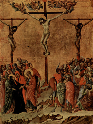 Duccio di Buoninsegna. Maesta, altar of Siena Cathedral, reverse side, Register with scenes of Christ's Passion, Crucifixion