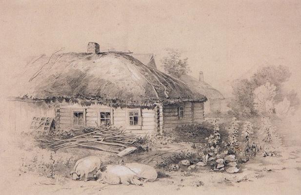 "Alexey The Kondratyevich Savrasov. Landscape with a hut. The picture ""Landscape with cottage"""