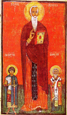 Icon Painting. Saints John Climacus, George and Blasius