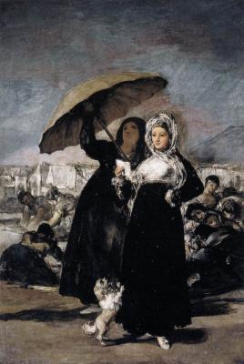 Francisco Goya. Girl with umbrella (Love letter)