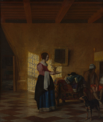 Pieter de Hooch. The girl with the water pitcher and the man on the bed
