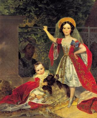 Karl Pavlovich Bryullov. Portrait of children with volkonskiis Arap