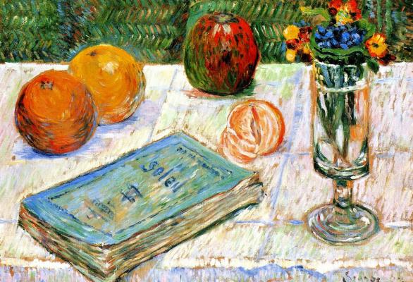 Поль Синьяк. Натюрморт с книгой и апельсинами