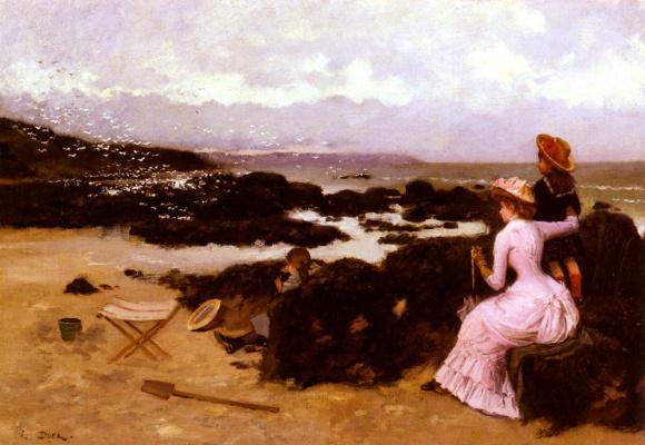 Женщина с детьми на пляже