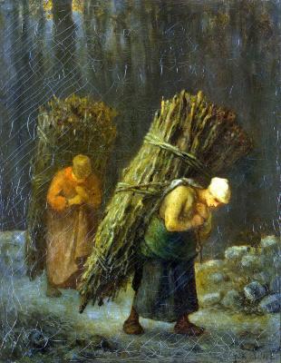 Jean-François Millet. Peasant women with brushwood