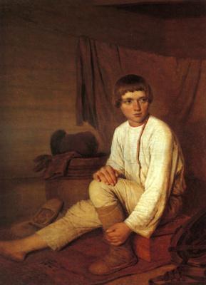 Алексей Гаврилович Венецианов. Крестьянский мальчик, надевающий лапти