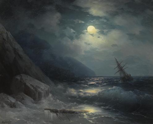 Иван Константинович Айвазовский. Лунный пейзаж с кораблем