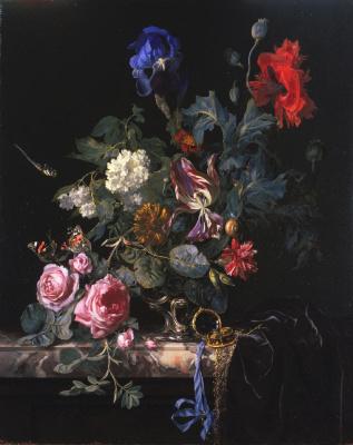 Willem van Aelst. Flowers in silver vase