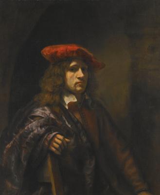Samuel van Hogstraaten. Portrait of a young man in a red beret
