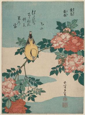 Katsushika Hokusai. Warbler and Roses