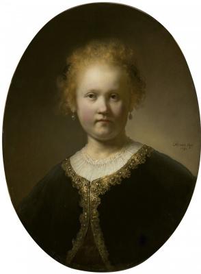 Рембрандт Харменс ван Рейн. Девушка в расшитой золотом накидке