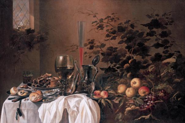 Питер Клас. Натюрморт с пирогом, бокалами и фруктами (совместно с Роэлофом Коетсом)