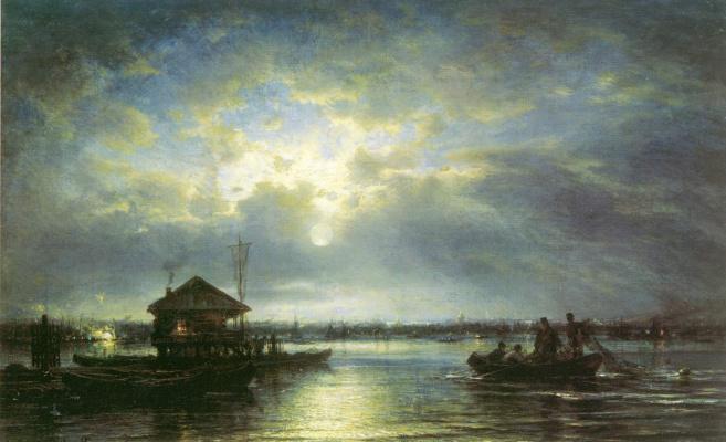 Alexey Petrovich Bogolyubov. Summer night on the Neva river at the seaside