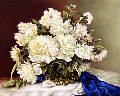 Vladimir Shtykov. Bouquet of white peonies