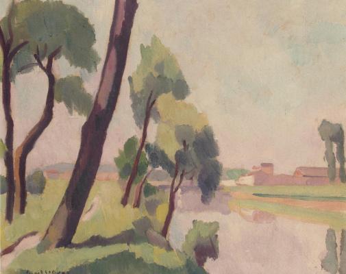 Шарль Рене Пикар Ле Ду. Пейзаж в Сен-Дени