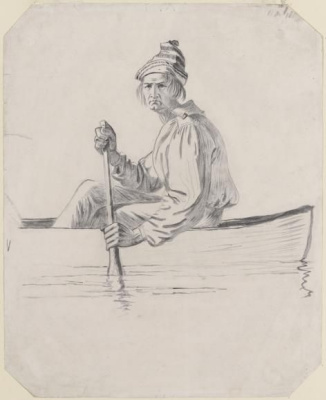 "Drawing for the painting ""fur Traders on the Missouri river"""