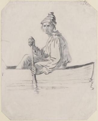 Рисунок к картине «Торговцы пушниной на реке Миссури»