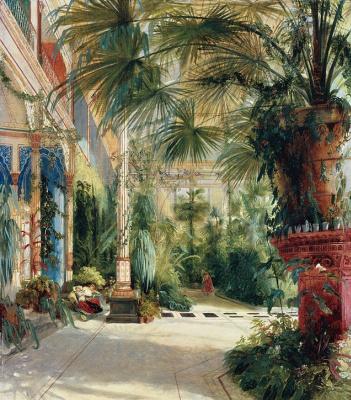 Carl Eduard Ferdinand Blechen. The interior of the Palm house in Potsdam