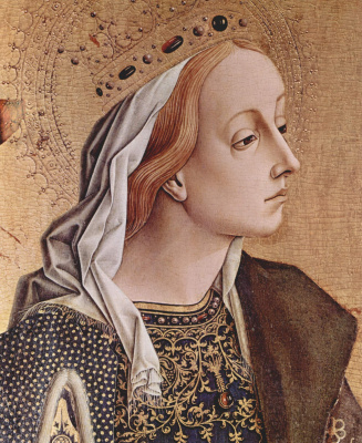 Carlo Crivelli. Saint Catherine Of Alexandria. Altarpiece of the Church of San Francesco at Montefiore Dell' Azo, left outer Board. Detail