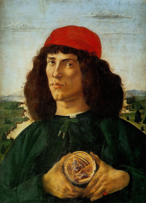 Sandro Botticelli. Portrait of a young man with medal of Cosimo de ' Medici the Elder