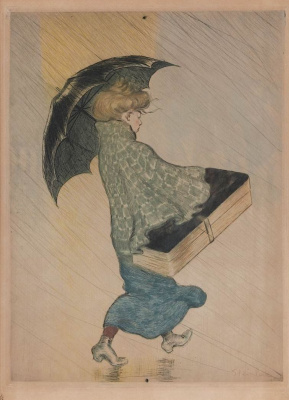 Theophile-Alexander Steinlen. A milliner in the rain