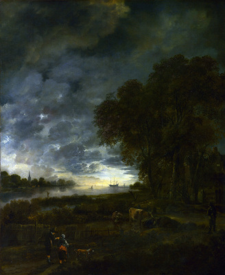 Art van der Ner. Landscape with the river in the evening