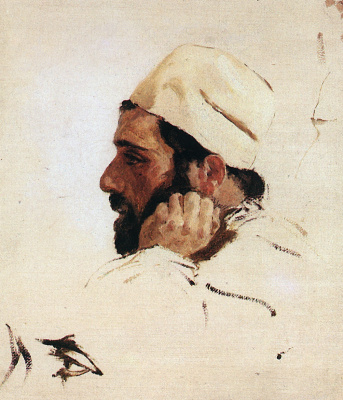 "Vasily Dmitrievich Polenov. Head of Levitan in turn the head of Christ. A sketch for the painting ""Dreams"""
