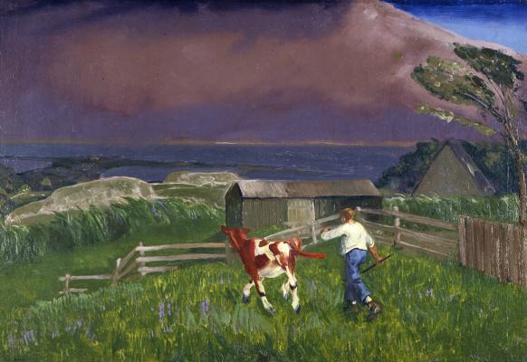 Джордж Уэсли Беллоуз. Мальчик и теленок. Приближается шторм